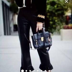 Zara Women's Ruffle Crop Capris Pants Side ZIP
